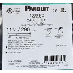 Стяжки Panduit 290x3.6 мм, черная, weather resistant, 1000 шт