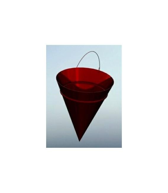 Ведро пожарное конусное красного цвета из металла 0,8-0,5мм